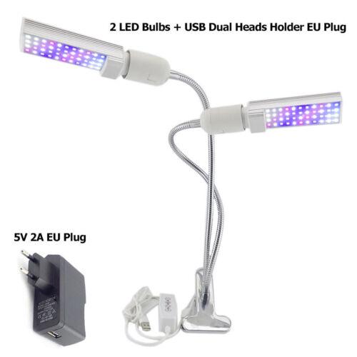 2 Head 44 LED Grow Light Full Spectrum Auto Timer Clip Plants Lamp indoor hydro