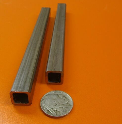 """2 Units 304 Stainless Steel Square Tube  1//2/"""" SQ x .065/"""" Wall x 6 Inch Length"""