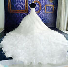 New White/Ivory Bridal Gown Wedding Dress Cathedral Train Organza Custom Size