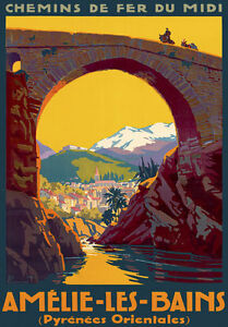 TT24-Vintage-Amelie-Les-Bains-Pyrenees-French-France-Travel-Poster-Print-A3-A2