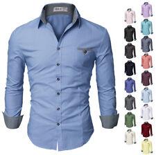 [FINAL SALE]Doublju Mens Slim Fit Cotton Flannel Long Sleeve Button Down Shirts