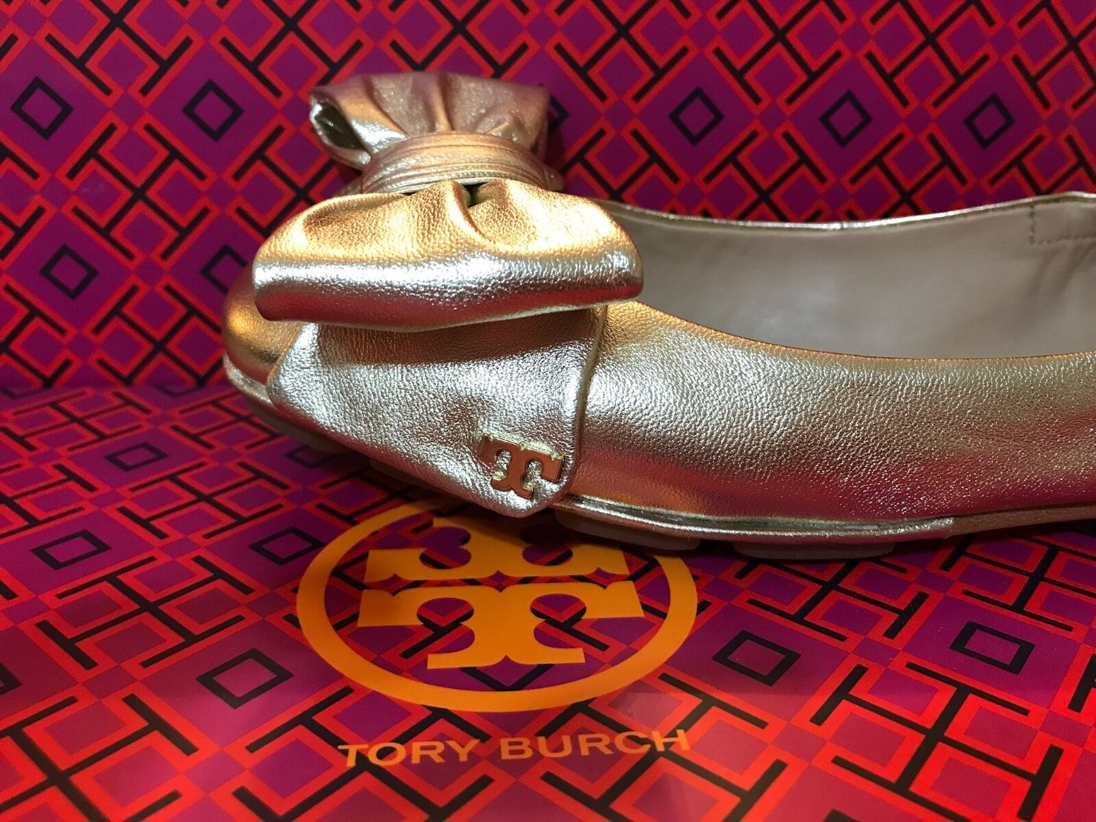Tory Burch flats size 7, gold with box