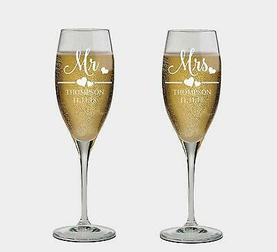 Personalized Wedding Toasting Glasses Mr. & Mrs.