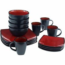 square dinnerware set service for 8 red stoneware dishes dinner plates 32 pieces