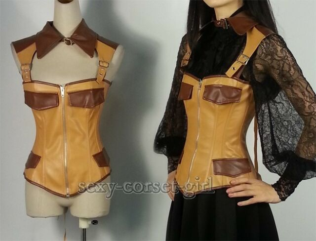 Vest Faux Leather Waistcoat Bustier Gothic Steampunk Corset Size S-2XL A2384