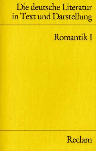 1 von 1 - Reclam- 09629 SCHMITT : DIE DEUTSCHE LITERATUR    ROMANTIK I  b