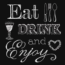 20 Ambiente 3 Ply Paper Napkins Serviettes Eat Drink Enjoy Black Contemporary