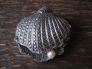 praechtige-Art-Deco-Markasit-Brosche-Muschel-Perle-925er-Silber-in-TOP-Zustand