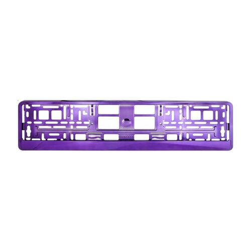 2 X PURPLE GLOSS CHROME Car Number Plate Surround Holder FOR ANY CAR VAN  M