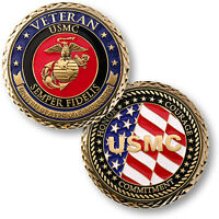 U.s. Marines Corps - Veteran semper Fidelis - Usmc / Flag Challenge Coin