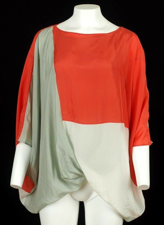 Auth Fendi 100% Silk Farbe Block Flowing Layerot Top Blouse 42 8