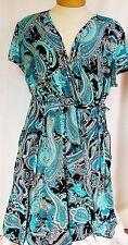 Apt 9 3X Plus Size 22 24 Dress Womens Faux-Wrap Paisley Short Sleeve Turquoise