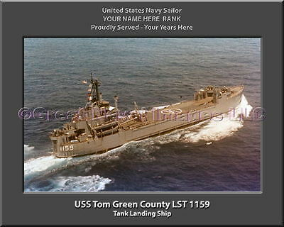 SignMission Served On USS TOM GREEN COUNTY LST 1159 Plastic License Plate Frame