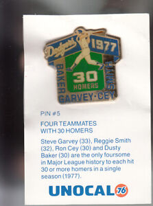 VINTAGE-L-A-DODGERS-UNOCAL-PIN-UNUSED-FOUR-TEAMMATES-WITH-30-HOMERS