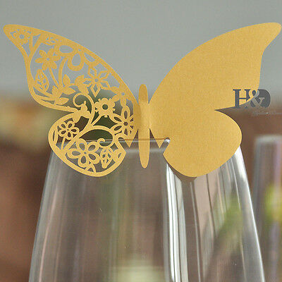 12 Gold Table Name Place Card Wine Glass Decor Butterfly Design Wedding Favor