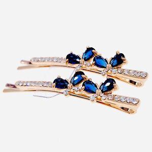 USA Bobby Pin Rhinestone Crystal Hair Clip Hairpin Simple Wedding Blue