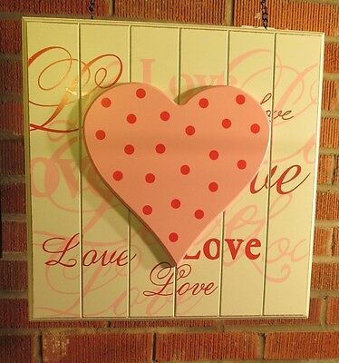 """""""LOVE BEAD BOARD w/ PINK HEART"""" Wood Replacement Sign - Sign for Arrow Holders"""