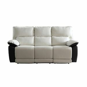Modern Contemporary Reclining Couch 2 Tone Bonded Leather