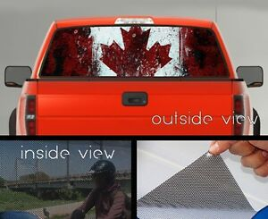 Flag Of Canada Rear Window Graphic Perforated Mesh Vinyl Decal - Rear window decals for trucks canada