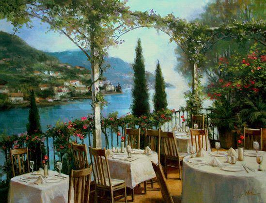T. T. T. C. Chiu : Amalfi terrasse image-châssis 60x80 toile BISTRO Côte romantique cdabdb