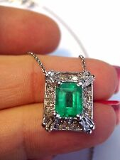 Stunning! Top Quality Deep Green Brilliant Colombian Emerald Diamond Pendant