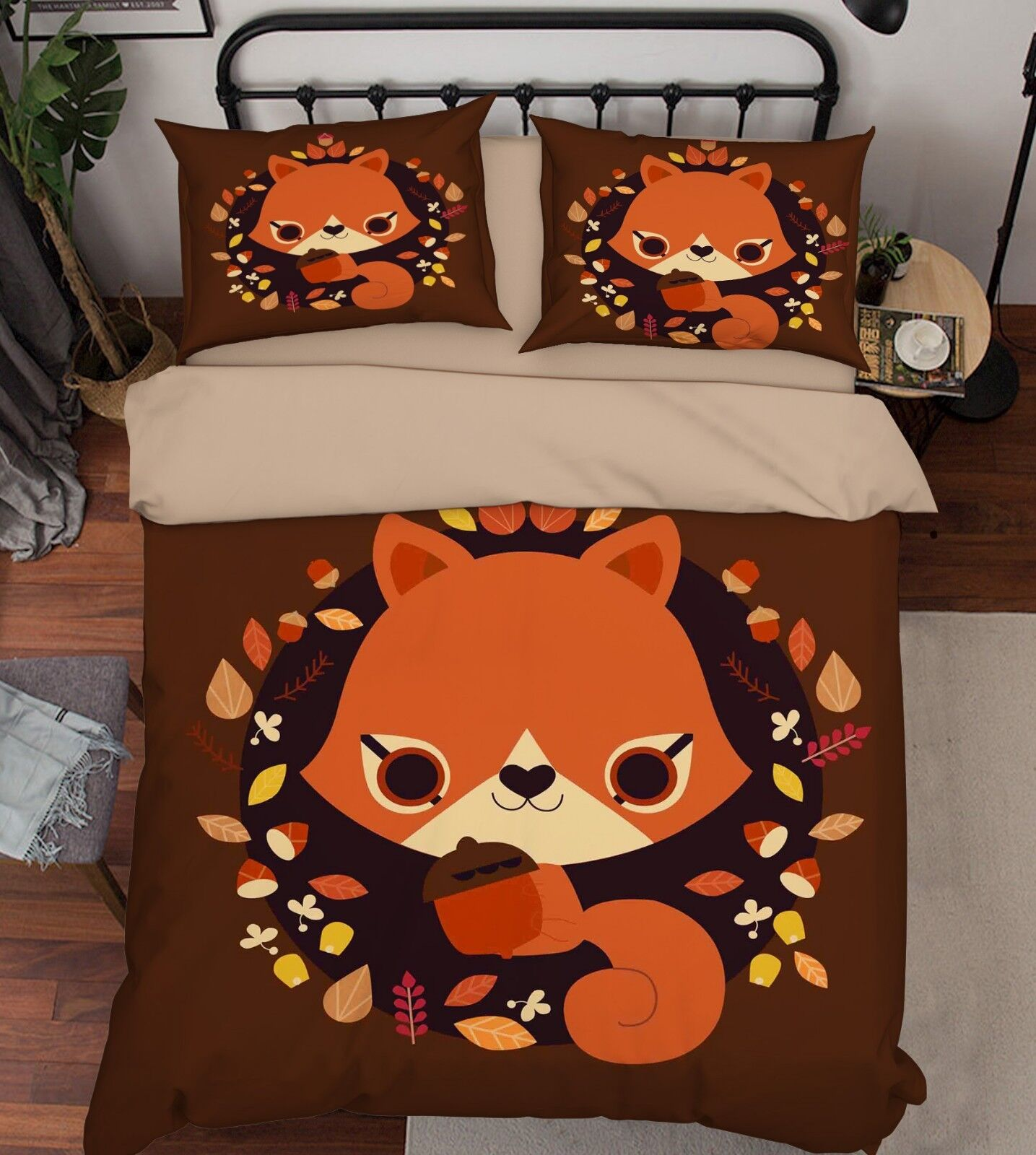 3d Squirrel 204 bett Cushion abdeckungs Stitch Duvet abdeckung Set Single Queen DE