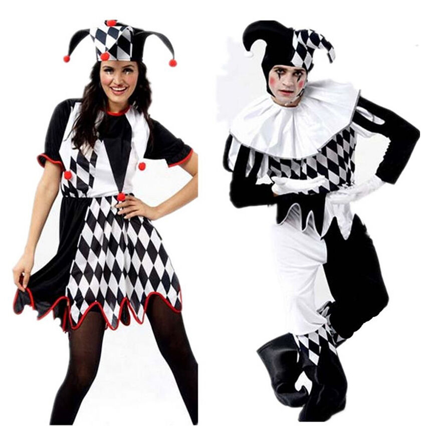 Halloween Fancy Dress Costume Girls Black /& White Jester Clown Outfit UK 10-12 F