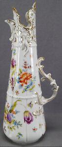 Ahrenfeldt-Dresden-ES-Prussia-Hand-Painted-Floral-amp-Gold-Ewer-Circa-1886-1910