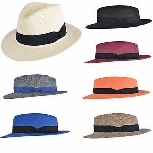 9f168e49890 UNISEX Crushable Straw Summer Panama Fedora Hat With Band Adjustable ...