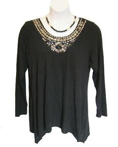 Embellished Black Jewel Sweater Plus Size 2X 18W 20W Scoop Dress Barn FLAW