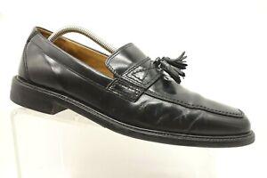 Bostonian-Black-Leather-Tassel-Slip-On-Dress-Loafers-Shoes-Men-039-s-9-5-M