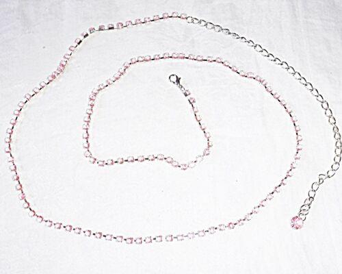 VINTAGE con strette ROSA PALLIDO * Diamante Cintura O Collana EXT Chain & Goccia