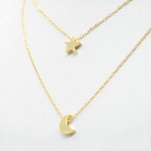 Damen-Doppelt-Ketten-Mond-Stern-Anhaenger-Silber-Gold-Halskette-hot-Neu