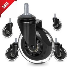 Office Chair Caster Rubber Wheels 3 Threaded Stem 516 Caster Wheels 5 Pack