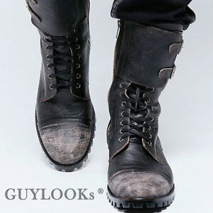 Designer Homme Mens Vintage Wash Double Buckle Leather Biker Boots ...
