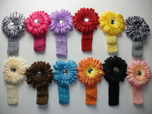 24pc large Lily Flower hair Clip bow Crochet Headband lot gift Baby Girl woman