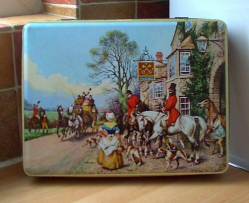 'GREETING THE STAGECOACH' BISCUIT TIN, retro, vintage, shabby chic