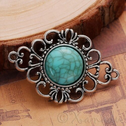 Antiqued Silver And Imitation Turquoise C1147-1 Filigree Pendant 2 Or 5PCs