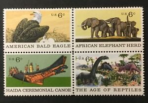 Eagle Dinosaurs Elephants Tlingit Chief Canoe mnh block 4 stamps 1970 USA #1390a