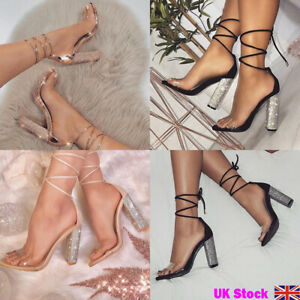 uk store best shoes best price UK Women Clear Strap Shoes Strappy Tie Up Crystal Block High Heels ...