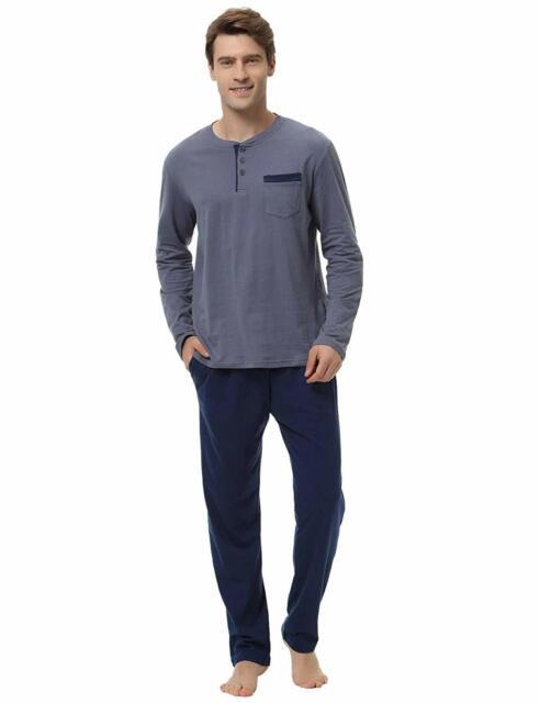 Hawiton Mens Pajama Pants Set 100/% Cotton Long Sleeve Sleepwear Lounge