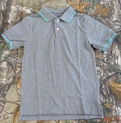 The Children/'s Place Boys/' gray short sleeve w aqua trim Polo Shirt,S 5//6 M 7//8