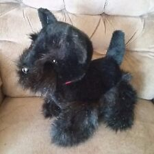 "Fiesta SCOTTISH TERRIER Puppy Dog 13"" Black Fur Plush Red Plaid Grosgrain Bow"