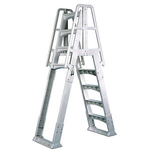 Vinyl-Works-A-Frame-Ladder-with-Barrier-for-Swimming-Pools-48-to-56-034-Tall-White