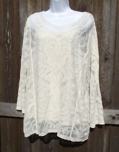 ADIVA-2pc-COTTON-RAYON-EMBROIDERED-LACE-LONG-SLEEVE-IVORY-BLOUSE-TOP-CAMI-2X-NEW