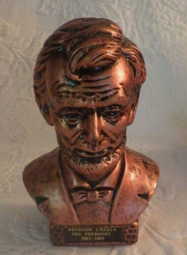 Abraham Lincoln 16th President Plastic Head Figure Hong Kong Bronze Color 5""