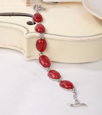 beautiful Natural 13X18mm Red Ruby Jade Gemstone oval Beads Bracelet 7.5''-8.5''