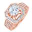 Redondo-y-Corte-Baguette-Diamante-3-00-Kilates-18-Ct-Anillo-Oro-Compromiso miniatura 7