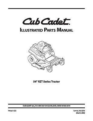 Cub Cadet Parts Manual Model No  RZT 54 | eBay