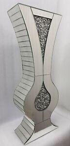 Diamond Crush Sparkly Curvy Silver Mirrored Decorative Floor Vase Tall 80cm Ebay